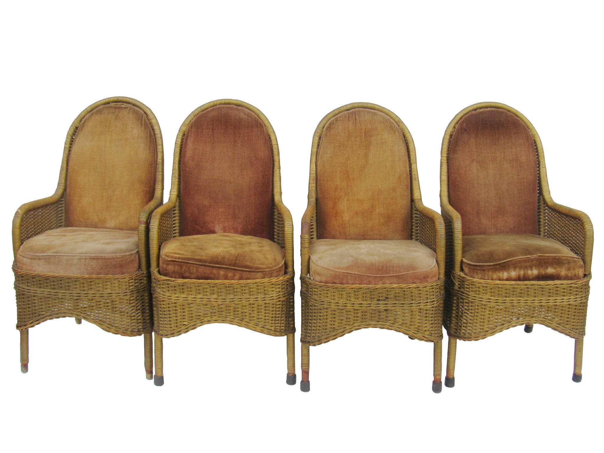 Heywood Wakefield 1930u0027s Wicker Chairs Antique Wicker And Velvet Club Chairs  Art Deco Wicker Dining Chairs