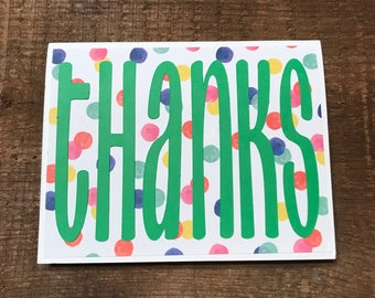 Green and Dots Thank You Card