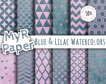 """Watercolor Digital Paper: """"Blue & Lilac Watercolors"""" for scrapbooking, invite, card - damask, triangles, dots, chevron, hexagons"""