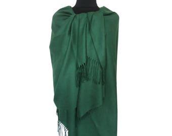 Green Pashmina, Beautiful Scarf, Fall Scarf, Christmas Gifts for Women, Pashmina Scarf, Long Pashmina, Gift for Girlfriend, Plain Pashmina
