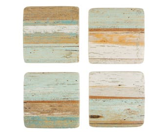 Coastal Chic Ceramic Coasters. Set of 4 Coasters. BOU349