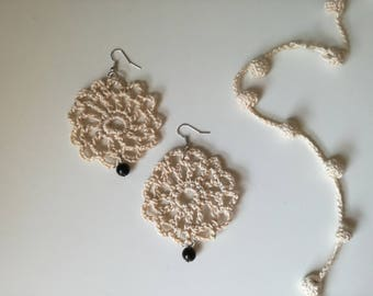 Crochet earrings, crochet earrings, earring, dangling 100% cotton