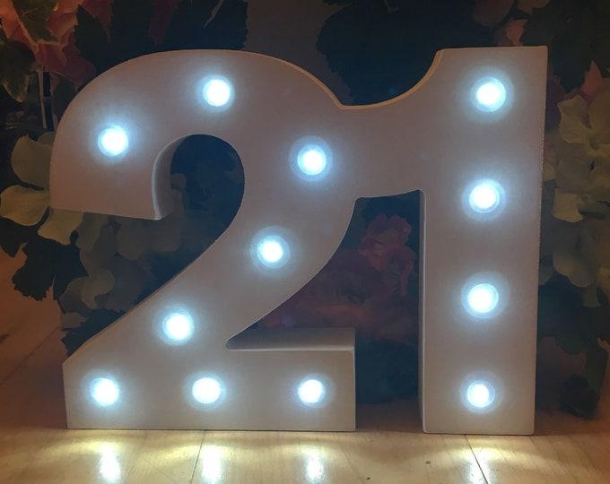 Wooden Light Up LED Number 21