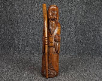 "Wise Old Asian Man W/ Staff 15 1/2"" Wood Statue"