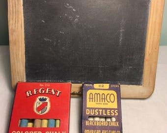 Vintage small blackboard and chalk - wood framed blackboard - colored chalk - 1940's toys - regent chalk - Amaco chalk