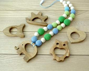 Nursing necklace - Choose teether - Teething necklace - Breastfeeding - Baby wearing necklace - Dummy clips - Pacifier clip - Montessori
