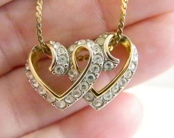 Gold Tone Double Heart Swarovski Crystal Pendant Necklace