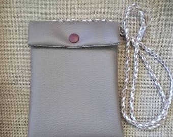 Mini wallet imitation leather taupe with yard long string