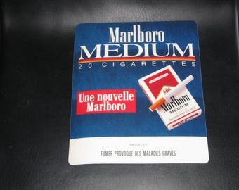Mouse Pad, Original Cigarette Advertising, Marlboro Medium, French Vintage