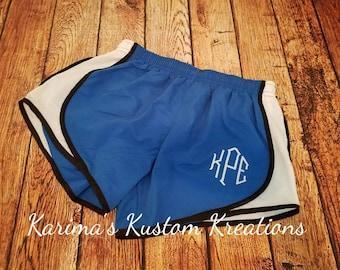 Monogrammed running shorts/ running shorts/ workout shorts/ preppy shorts/ women's monogram shorts/ athletic shorts/ women's embroidery