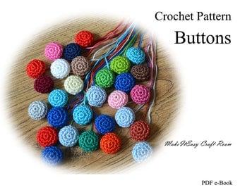 Crochet buttons pattern Thread covered buttons Card making crochet motif Yarn buttons Button applique Decorative crochet button PDF download