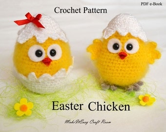 Easter chicken crochet pattern Crochet chicken pattern Chick in eggshell Easter decor Crochet baby chick Easter ornament Digital download