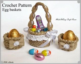 Easter egg basket crochet pattern Crochet egg basket Jute basket with handle Rustic Easter decor Mini egg basket Digital download
