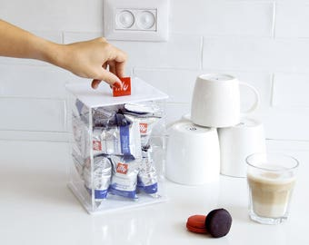 Illy Clear Coffee Dispenser, pod Storage box , Kitchen Organizer, Minimal Decor Gift, Counter Top Storage, Kitchen Accessory, Coffee Display