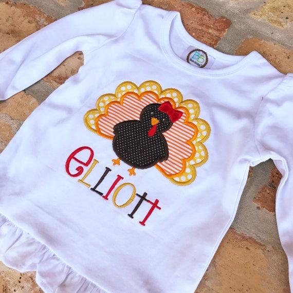 Little Turkey Girls Ruffled Applique Shirt Set