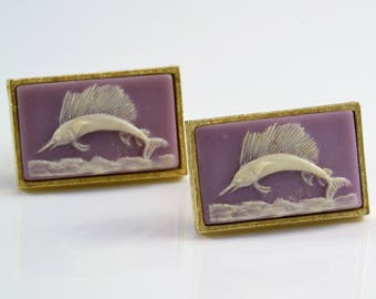 Cuff Links by Dante - Sailfish Cameo Incolay on Lavender Lilac Purple - Vintage 1960s Mens Gift in Original Box