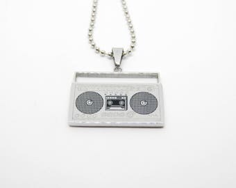 Stainless steel necklace GHETTOBLASTER boombox stereo radio hiphop ghetto bronx
