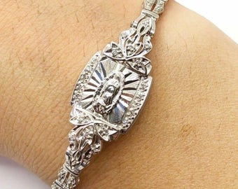 Vintage 14k White Gold 0.60 Ct Diamond Virgin Mary Guadalupe Bracelet 16.8 Grams