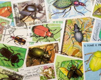 20 Botanical Print Stamps Beetles, Bugs, Insects - All Different Altered Art, Collage, DeStash Lot Vintage Paper Supplies Vintage Ephemera