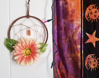 simple hippie bohemian flower vibin'  dreamcatcher
