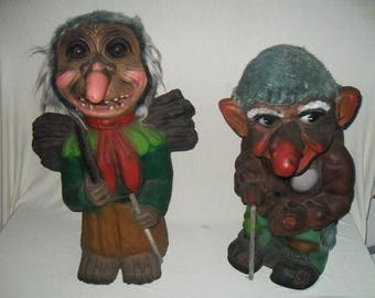 2 Old XXL trolls-made in Germany-troll rarity-54/58 cm-um 1970-Vintage Large figurine