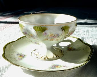SALE RS Prussia Style Tea Cup and Saucer- Art Nouveau Teacup Set- Pedestal Foot and Gold Scrolling- Antique German Porcelain - R. S. Prussia