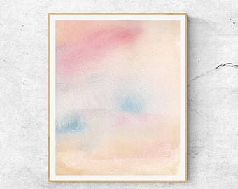 Pink Blue Abstract Watercolor Print, Contemporary Art Print, Abstract Wall Art, Modern Wall Art, Blush Print, Pastel Print, Watercolor Print
