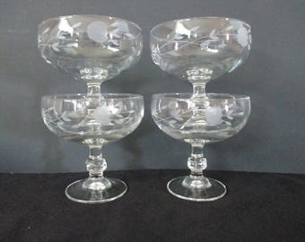 Vintage, Princess House, Footed Dessert Glasses/Bowls,  (#507), in Heritage Pattern, 8 ounce, Set of 4. 1970's