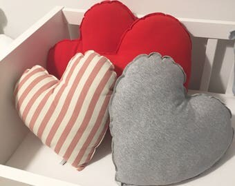 Heart shaped pillows, cushions for children's bedrooms