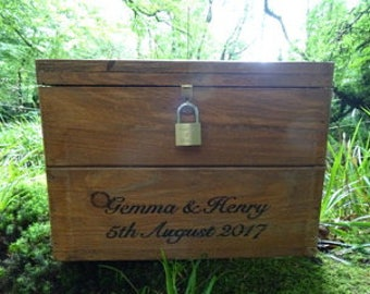 Personalised Wedding Card Box Memory Keepsake Gift Box With Engraved Padlock
