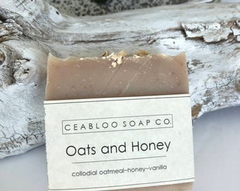 Natural Dry skin Oats and Honey, handmade oatmeal soap, good for you, facial gentle moisturizing, exfoliating soap, dry skin cleanser, gift