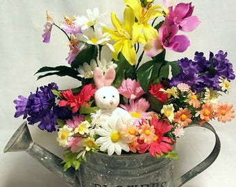 Spring Floral Centerpiece, Easter Centerpiece, Watering Can Spring Centerpiece, Bright Bunny Centerpiece, Rustic Country Centerpiece