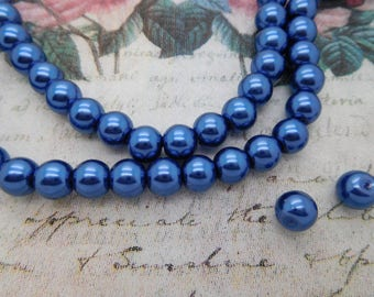50 dark blue 8 mm round glass beads / Pearl / cultured pearl