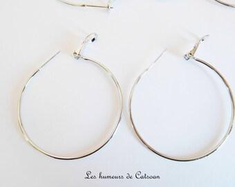 Set of 10 earrings 35mm silver tone nickel free hoops