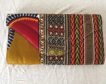 Pocket handy fabric ethnic handmade African mustard color