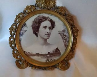 Antique Round Metal Photo In Frame,  Beautiful Woman, Floral