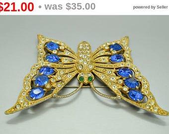 Vintage Butterfly Rhinestone Butterfly Brooch Blue Butterfly Costume Jewelry Vintage Jewelry