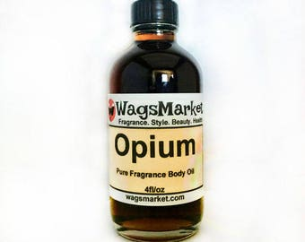 OPIUM, 4oz Glass Bottle, Pure Fragrance Body Oil