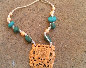 Asian Style beaded Necklace With faux Ivory scrimshaw