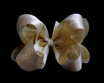 GOLD shimmer BIG hair bow double loop Christmas Pageant metallic alligator clip 5 inch 4 inch Cici's