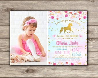 Unicorn Birthday Photo Invitations Pink and Gold Party picture Invitations NV7843