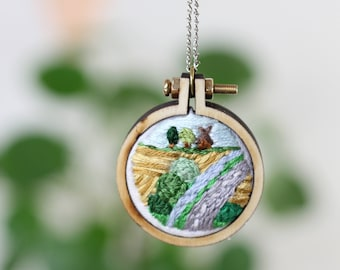 Embroiderd Necklace | Landscape with Windmill