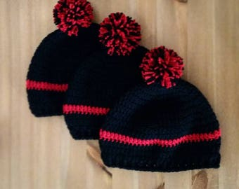 Thin Red Line Hat, Fire Fighter, Fire Department Hat, Crochet Hat, Fire Family, TRL Hat, Fire Wife, Fire Mom, Fire Family