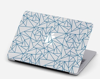 Origami Clear MacBook Case, MacBook Air, Pro, Retina Pro 2016 Touch Bar ID, 11, 12, 13, 15, Unique Transparent Abstract Hard Case Blue