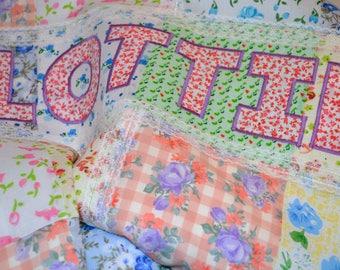 Vintage Baby Blanket, Patchwork Vintage Baby Blanket, Floral Baby Blanket, Personalised Baby Blanket, Lace Baby Blanket, Quilt Baby Blanket