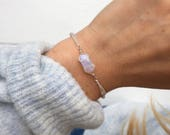 Rainbow moonstone bracelet, Silver beaded bracelet, silver bracelet, dainty bracelet, delicate silver bracelet, crystals by Serenity project