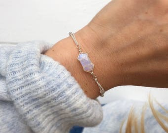 Rainbow moonstone bracelet, Silver beaded bracelet, silver bracelet, dainty bracelet, delicate silver bracelet, crystals by Serenity project