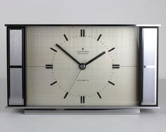 """60s vintage table clock by Junghans """"electronic Ato-mat S"""", frosted metal, west Germany, mid century, modernist"""