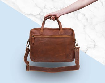 "Compact Leather Laptop Case - 13"" Capacity - Lightweight - Leather Work Bag Or Satchel by MAHI Leather"