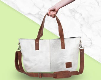 Brown Leather Tote Bag with Pony Hair in Grey/White by MAHI Leather